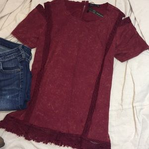 Mineral Red Fringed Top